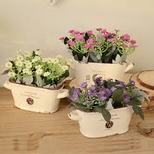 get ations simulation of plastic fake flowers bouquet suit silk flower potted bonsai ceramic ornaments home living room