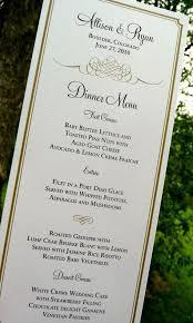 Gold Wedding Menus Tea Length Menu Dinner Menu Formal