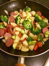 the sausage will start to caramelize with the potatoes and onions