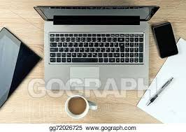 Top office table cup Pen Office Table Top With Gadgets Gograph Stock Photos Office Table Top With Gadgets Stock Images