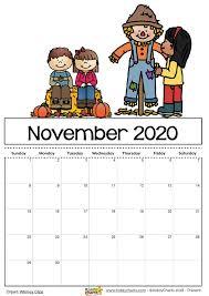 November 2020 Calendar Clip Art Free Printable 2020 Calendar For Kids Including An Editable