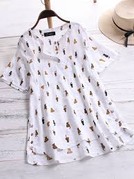 Cat Nail Cap Size Chart Casual Cat Cartoon Print Button Irregular Plus Size Blouse