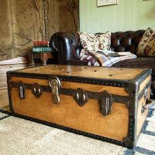 room vintage chest coffee table: vintage steamer trunk s travel trunk industrial chest coffee table blanket box