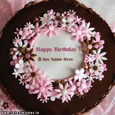 Pink Flower Chocolate Birthday Cake Photo Editor Latestwishesin