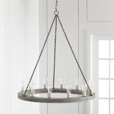 Wooden chandelier lighting Quatrefoil Crate And Barrel Geoffrey 36