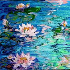 water lily paintings oil painting by m baldwin depicting enchanting blue water misty water