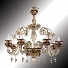 san polo 8 lights smoky grey murano glass chandelier