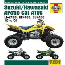 artic cat trainers4me suzuki kawasaki artic cat atvs 2003 to 2009 lt z400 kfx400 dvx400 haynes repair manual