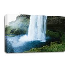 waterfall wall art picture forest wood