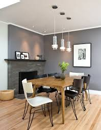 Dinning Rooms:Cool Gray Dining Room With Wood Dining Table And Black Dining  Chairs Also