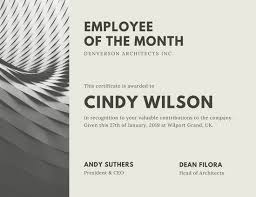 Free Employee Of The Month Certificate Template Extraordinary Gray Architect Employee Of The Month Certificate Templates By Canva