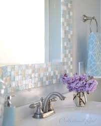 Chic Mosaic Tile Around Bathroom Mirror About Home Remodeling