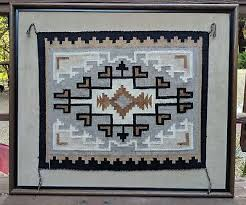 vintage navajo rug two grey hills tapestry weave textile 30 x25 native american