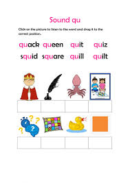 The pictures for this sheet are of kite, rocket, mop, dress, hen and envelope. Sound Qu Activity