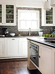 What Color Backsplash With White Cabinets Magnificent Contrasting Kitchen White Cabinets And Dark Grey Backsplash
