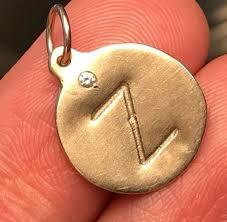 14k yellow gold helen ficalora diamond z initial disk pendant