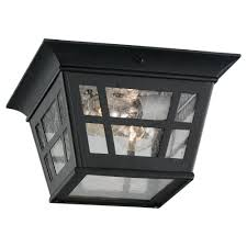 seagull lighting 7813112 herrington two light outdoor ceiling flush mount black porch lights amazoncom flush mount porch light t37