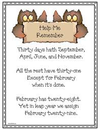 calendar activities studying the months free 30 days hath september mnemonic poster