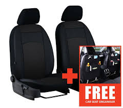 ford transit van 2 1 leather fabric seat cover set black royal style