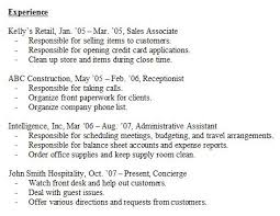 examples of work experience on a resume resume experience sample
