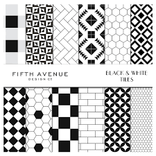 Black And White Pattern Tile Inspiration Black White Tiles Digital Paper Graphic Patterns Creative Market