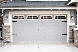 Garage Door Decorative Accessories Exterior Folding Garage Door Grey Color With Dark Glass On Top 86