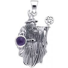 wizard pentacle sterling silver gemstone pendant
