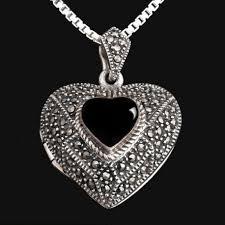 locket size photos silver locket heart openwork onyx marcasite