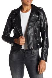 blanknyc denimdragonfly stud moto faux leather jacket