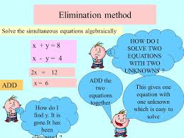 solving simultaneous equations algebraically 11 elimination