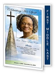 Graduated Fold Heavenly Cross Funeral Program Template