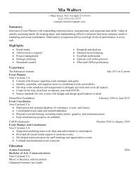 event planner resume lance event planner event planner resume  event