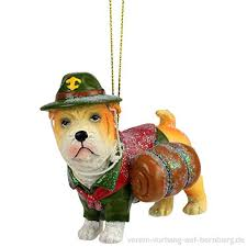 Baumschmuck Figur Deko Hänger Pfandfinder Bulldogge Hund