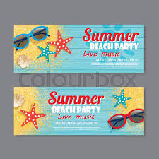 Invitation Ticket Template Summer beach party invitation ticket template background Stock 51