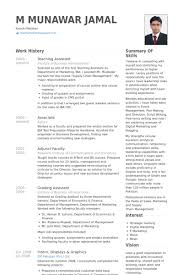 Teaching Assistant Cv Example Resume Template Resume Examples For Teacher Assistant Sample