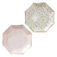 Pink Flower Paper Plates Rose Gold Foiled Floral Paper Plates Ditsy Floral Yay