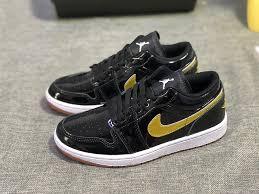 advanced design air jordan 1 low gg patent leather black metallic gold white 554723 032 men s women s basketball shoes 554723 032