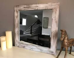 White Mirror, Whitewash Wood, Wood Frame Mirror, Rustic Wood Mirror,  Bathroom Mirror