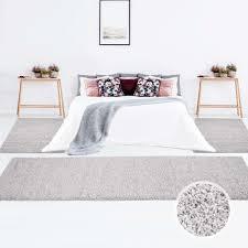 Uni Shaggy Teppich Bettumrandung Hochflor Einfarbig Real