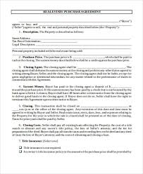 sample purchase agreement sample example format  real estate purchase agreement