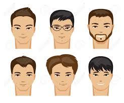 一連の異なるタイプのルックスとヘアスタイルと男性のイラストのイラスト