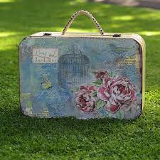 Decorative Vintage Storage Boxes Floral Vintage Style Suitcase Storage Box Decorative Suitcase Boxes 2
