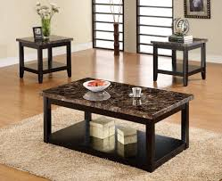 Lovely 3pc Lawndale Faux Marble Top Solid Wood Black Finish Coffee Table Set Awesome Design