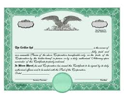 Template For Stock Certificate Stock Certificates Llc Certificates Share Certificates