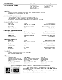 Musical Theatre Resume Template Technical Theater Resumes Actor