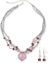 jcpenney pink swirl glass heart pendant necklace bead