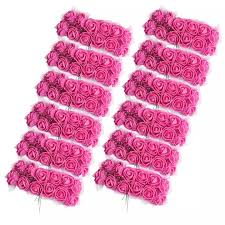 Guangquanstrade 144x Mini Artificial Foam Rose Flower Diy For Hair Accessory Wedding Bouquet