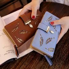 New Ladies <b>PU Leather Wallet</b> Long Gold Hollow Leaf Ladies Purse ...