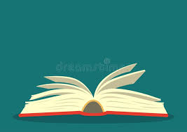 open book on teal background stock vector ilration of learn text