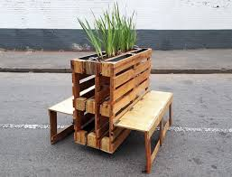 wooden pallets. r1 recycles wooden pallets into interlocking mobile benches for johannesburg